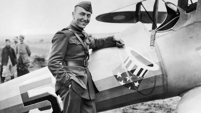 Captain Eddie Rickenbacker with his Spad Fighter of the 94th Aero Squadron – the Hat in the Ring Gang.