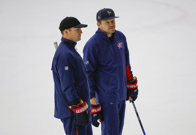 Former Columbus Blue Jackets players Mark Letestu, left, and Derek Dorsett were helping to lead development camp at the OhioHealth Ice Haus in Columbus this past week.