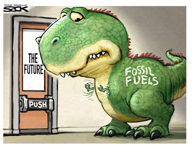 Fossil Fuel Extinction cartoon by Steve Sack, The Minneapolis Star-Tribune, MN