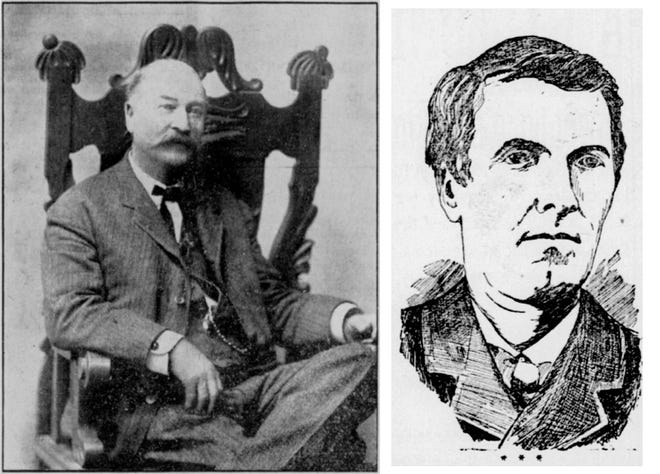 Monmouth inventor J. Howard Pattee (left) damaged the reputation of famous spiritual medium John H. Mott (right) when he squirted red dye on his face during an 1878 séance.