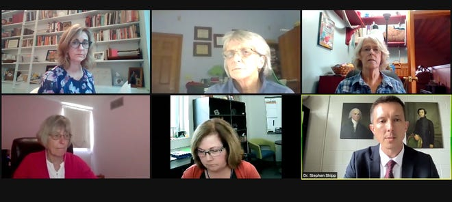 From top left, Monroe County Attorney Margie Rice, Monroe County Commissioners Julie Thomas, Lee Jones and Penny Githens, county health department administrator Penny Caudill and Seven Oaks Classical School Headmaster Stephen Shipp are seen during a hearing held via Zoom on Monday.