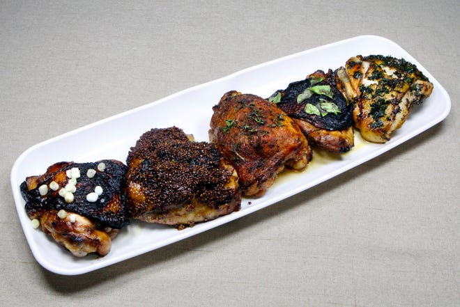 Today's options for Marinated Chicken Thighs include, from left, Teriyaki, Honey Dijon, Paprika, Cilantro Lime and Chili Garlic. (Not pictured, Balsamic).
