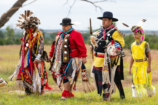 Native American chiefs, including Little Raven and Stumbling Bear, journey to meet the white men to present their complaints before signing the Peace Treaty during this reenactment in 2018. The Peace Treaty Pageant takes place at Memorial Peace Park in Medicine Lodge.