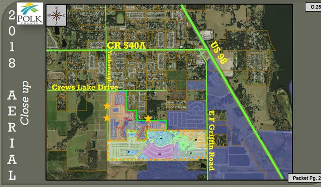Aerial view shows where 562-home subdivision will go, if it's approved by the Polk County Commission Tuesday.
