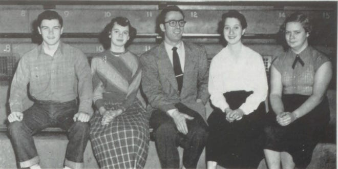 Pictures of the Past is from the 1953 Lincoln Community High School yearbook. Shown are members of the debate team. From left are: B. Molloy, N. McMillan, Mr. Stillwell, J. Goodrich and E. Bock. That year the regular debate team placed third in the Big 12 and qualified for State. Regular members included: negative side is Lowell Brosamer and Jean Goodrich; Affirmative side is Bob Molloy and Robert Scholtes. Substitutes for the negative team at state were Nancy McMillen and Sandy Bennis.