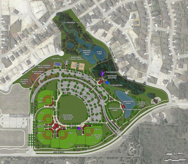 An engineering map of Phase II of Midlothian Community Park. The Midlothian City Council voted last week to name the amphitheater after former councilmember Art Pierard, who died in February 2020.