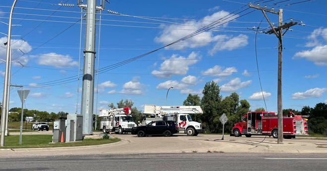 A broken power line caused not only a power outage, but trouble for a motorist last week.