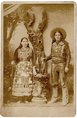 Chief Rolling Thunder and wife Louisa Stumpf, the Prairie Flower, during Buffalo Bill's Wild West Show.