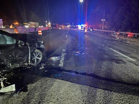 A motorcyclist on Interstate i5 traveling southbound in Kittery, Maine, was brought to the hospital after crashing into the scene of a car crash minutes earlier Sunday, Sept. 19, 2021.