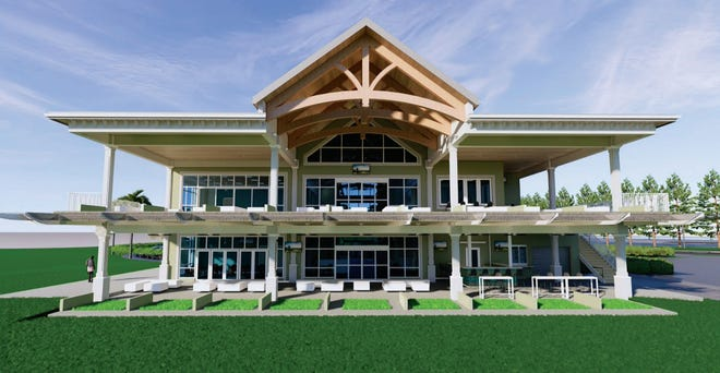 A rendering of Sandhill Crane's Par-3 clubhouse and two-story driving range in Palm Beach Gardens.