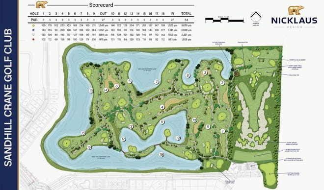 A course map for Sandhill Crane's Par-3 course in Palm Beach Gardens.