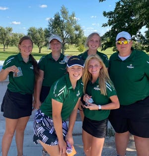 Pratt High School golfers pictured at Larned last week included: (from left, back) Emma Roadhouse, Sage Kohman, Avery Blasi, Coach Erika Householter and (front) Madaline Drake, Lexi Blasi.