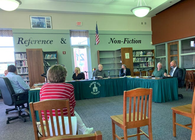 Several Aurora Board of Education members were unmasked at this Sept. 8 meeting, prompting criticism from backers of a mask mandate following the advice of the CDC, Ohio Department of Health and Portage County Combined General Health District.