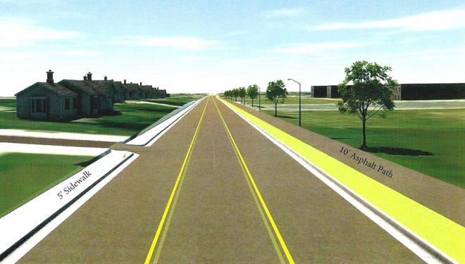 A rendering of proposed improvements along Indiana Street, including an added turning lane, a sidewalk and an asphalt path over what is currently a flood ditch. The estimated cost of the improvements is $4.1 million.