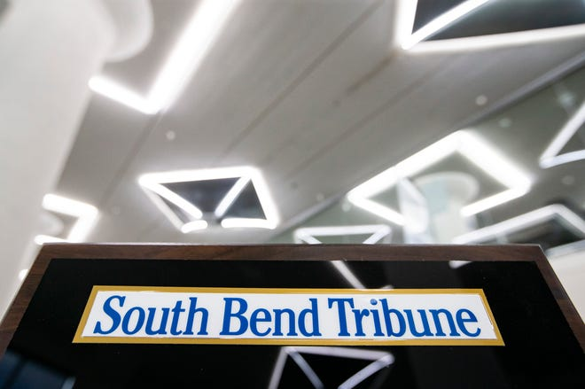 Inside the South Bend Tribune newsroom, which is located in the former Studebaker factory off Lafayette Blvd.