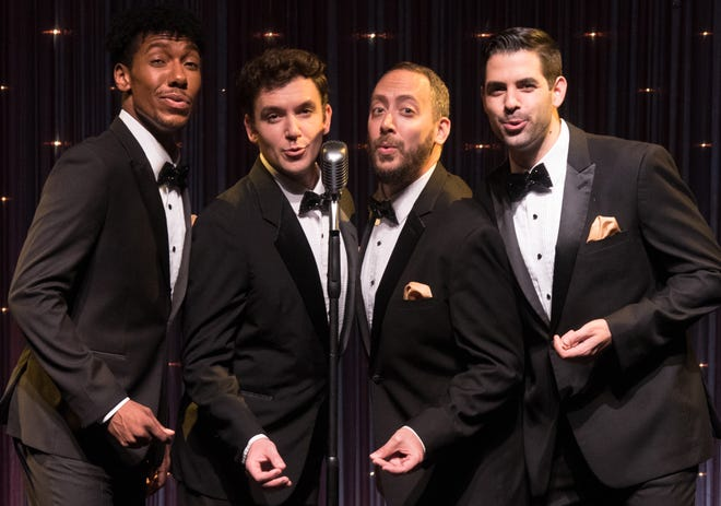 """From left, Travis Keith Battle, Kenneth Quinney Francoeur, Jason Pintar and Ryan Morales are """"The Wanderers,"""" a doo wop group presented in Florida Studio Theatre's cabaret series."""