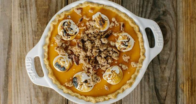 Sweet Potato Pie with Marshmallows and Pecan Streusel