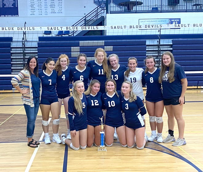 The Sault High junior varsity volleyball team won its own home tournament Saturday. The Blue Devils defeated Escanaba in the championship match.