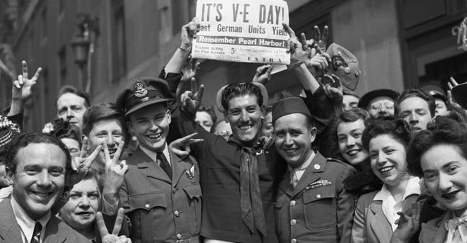 Europeans celebrate the news of Victory in Europe on May 8, 1945.
