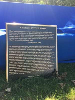 """The plaque slated to be added to the new Toni Morrison Society """"Bench by the Road"""" unveiled at the Prudence Crandall Museum on Sunday in Canterbury."""