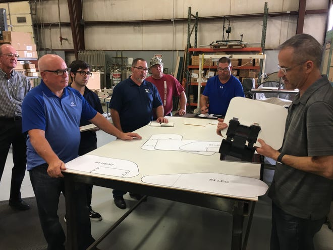Sizewise Manufacturing designs and builds specialty hospital bed frames in Hays. Here, the engineering and product development teams discuss siderail concepts for a new bed design.