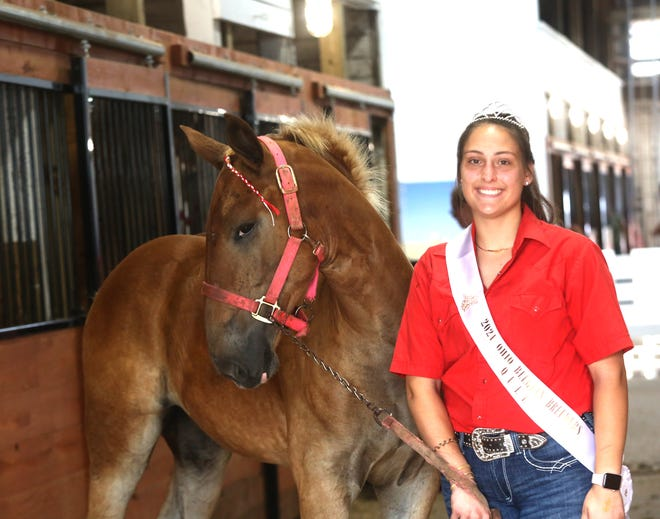 Jaydn Cooper, the Ohio Belgian Breeder's Queen from Adamsville, tries to get Miss Mae to pose for a photo Monday at the Tuscarawas County Fair.