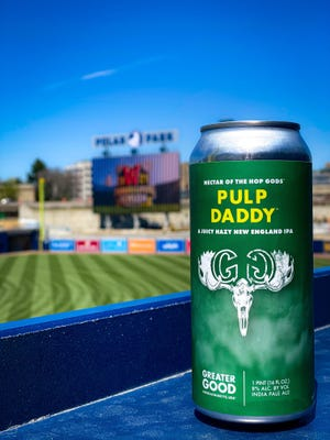 Greater Good Imperial Brewing Co.'s signature beer, PULP Daddy, takes in a game at Polar Park.