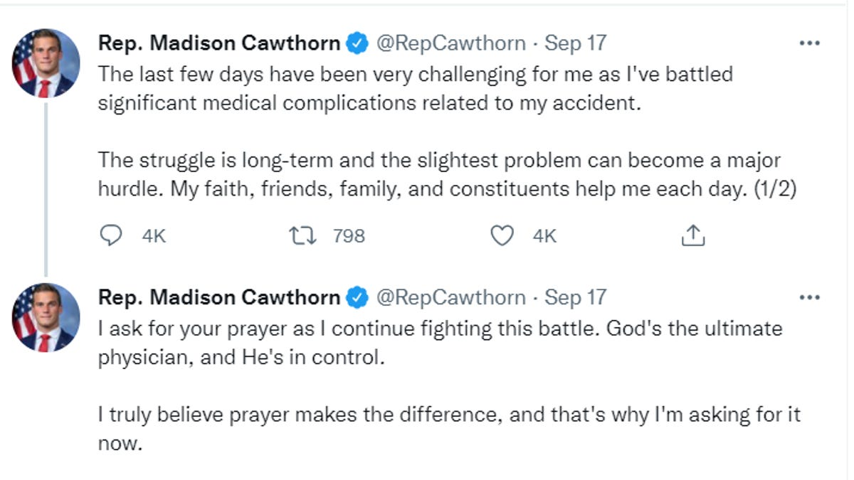 Rep. Cawthorn back to Washington 3 days after suffering 'significant medical complications'