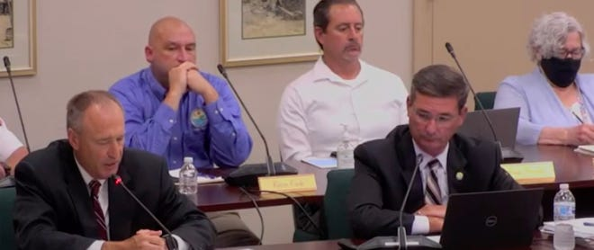 Titusville City Manager Scott Larese (right) presented the 2022 city budget a Sept. 15, 2021 City Council meeting.  It was approved unanimously.
