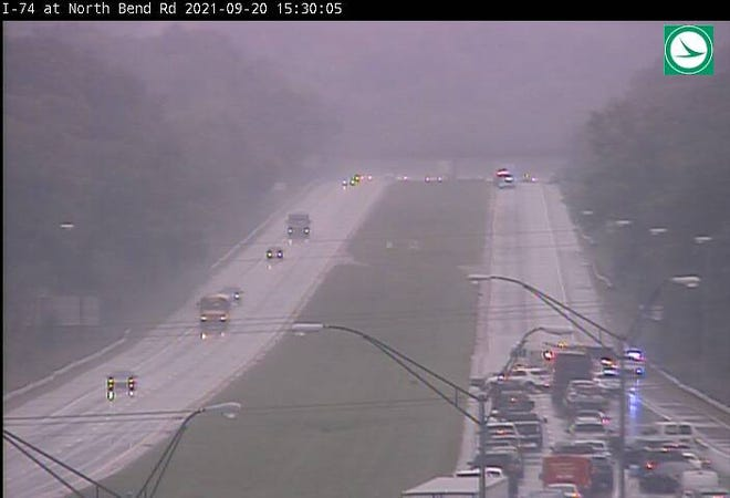 Westbound Interstate 74 was closed Monday afternoon due to a crash.