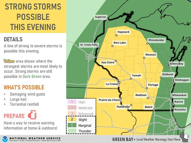 Thunderstorms could impact the Packers home opener if the game goes longer than expected.