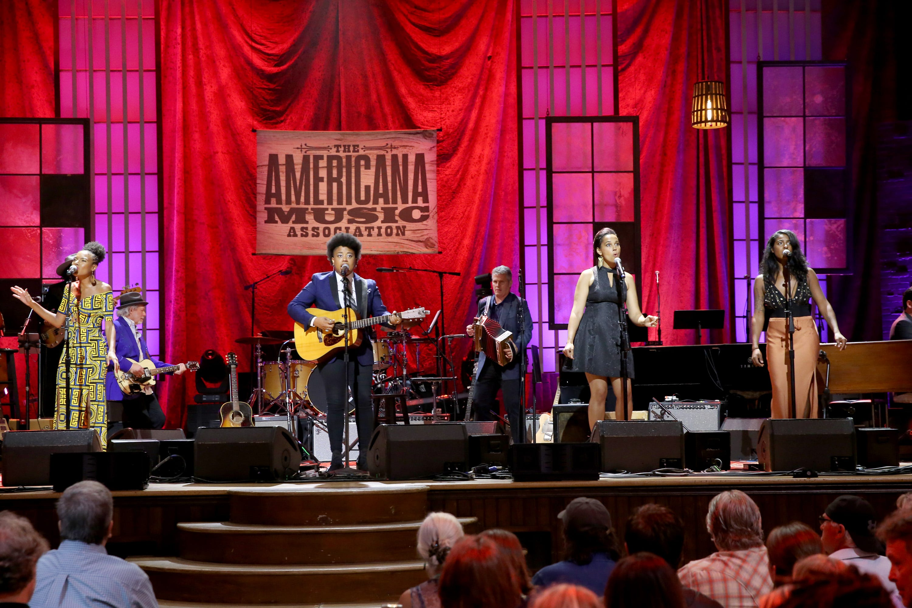 Allison Russell, Amythyst Kiah, Rhiannon Giddens and Leyla McCalla perform at the 2019 Americana Honors & Awards at Ryman Auditorium on Sept.11, 2019, in Nashville.