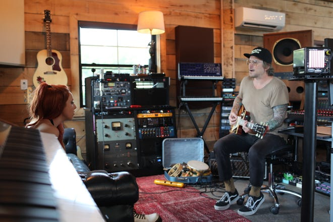 Kalie Shorr and Butch Walker on rehearse at Walker's studio in rural Franklin, Tennessee.