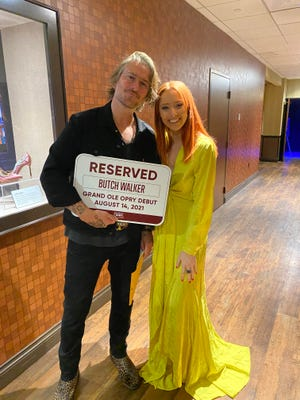 Butch Walker and Kalie Shorr backstage at the Grand Ole Opry on Aug. 14, 2021.