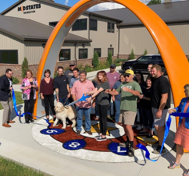 The ribbon is cut at Midstates Recreation's new home at 1279 Hazelton-Etna Road SW in Pataskala. Guests for the opening event, which featured two food trucks, included Pataskala Mayor Mike Compton and Senator Jay Hottinger.