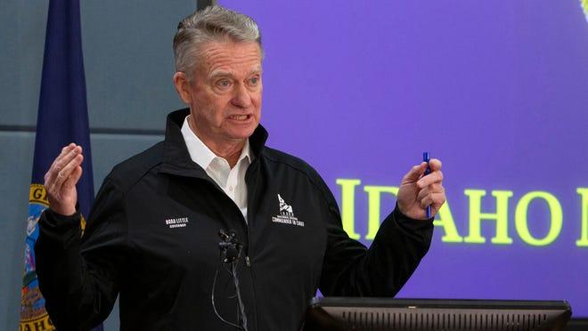 Idaho Gov. Brad Little at a March 2020 news conference. (Darin Oswald/Idaho Statesman/TNS)