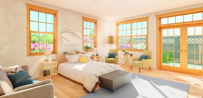 Each of eight light-filled bedrooms at the new Pappus House hospice in Thomasville will feature access to a private patio area.