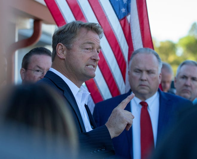 Dean Heller meets with supporters after announcing he is running for governor of Nevada at the Carson City Republican Party headquarters in Carson City, Nv., Monday, Sept. 20, 2021.