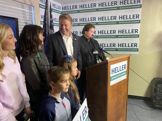 El ex Senador Republicano Dean Heller lanzó oficialmente una candidatura para gobernador el lunes 20 de septiembre de 2021 en Carson City.