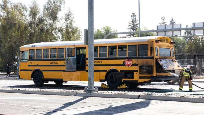 Visalia Fire Department responds Thursday, Sept. 9, 2021 to a bus fire on Demaree Street at Noble Avenue. About 35 Central Valley Christian students and the bus driver were able to leave the bus without injury.