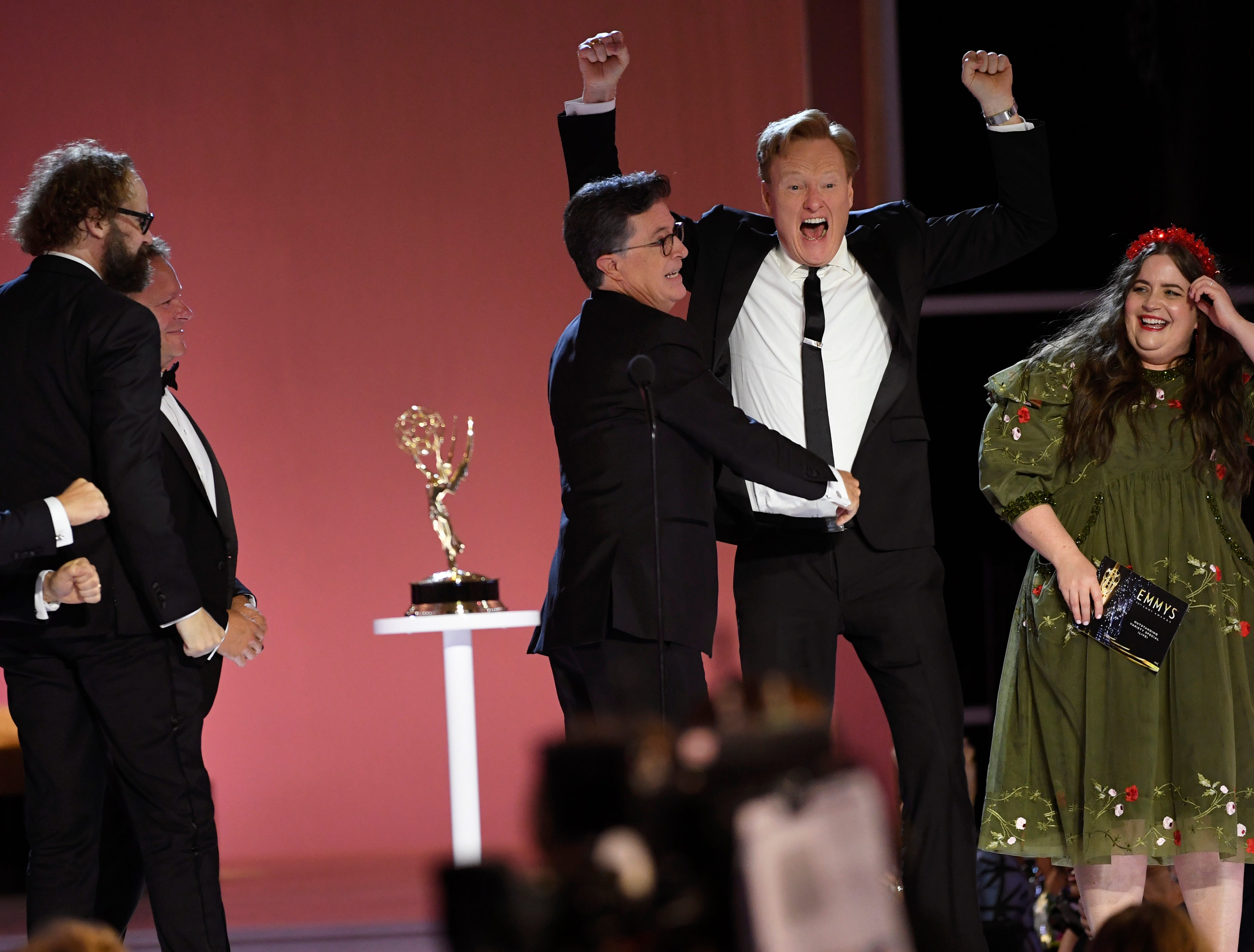 Stephen Colbert invited Conan O Brien to crash Emmy s stage, then fired him: Backstage at Emmy Awards