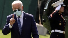 President Joe Biden walks on the South Lawn after returning to the White House September 20, 2021 in Washington, DC. President Biden returned to Washington after spending the weekend in Rehoboth Beach, Delaware.