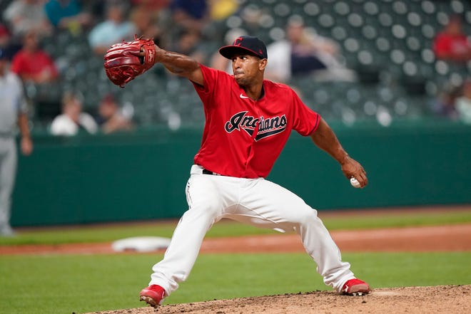 Cleveland relief pitcher Anthony Gose delivers in the fourth inning in the second baseball game of Monday's doubleheader against the Kansas City Royals. [Tony Dejak/Associated Press]