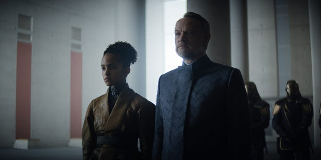"""Gaal Dornick (Lou Llobell) and Hari Seldon (Jared Harris) state their case for the version of history in """"Foundation."""""""