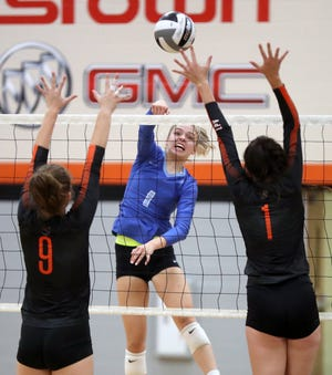"""Right-side hitter Lauren Young, a Jacksonville recruit, has been one of the top players for Berlin, which is working toward its first winning season. """"Going into this season, we had an all-or-nothing mentality, and we treat every game like it's our last,"""" Young said."""