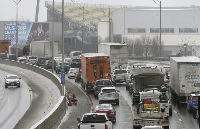 Southbound traffic on Interstate 71 slows to a crawl near Historic Crew Stadium after a crash in February. A MoneyGeek analysis of three years of federal fatal crash data over a three-year period calls a portion of I-71 the deadliest 5-mile stretch of roadway in Ohio.