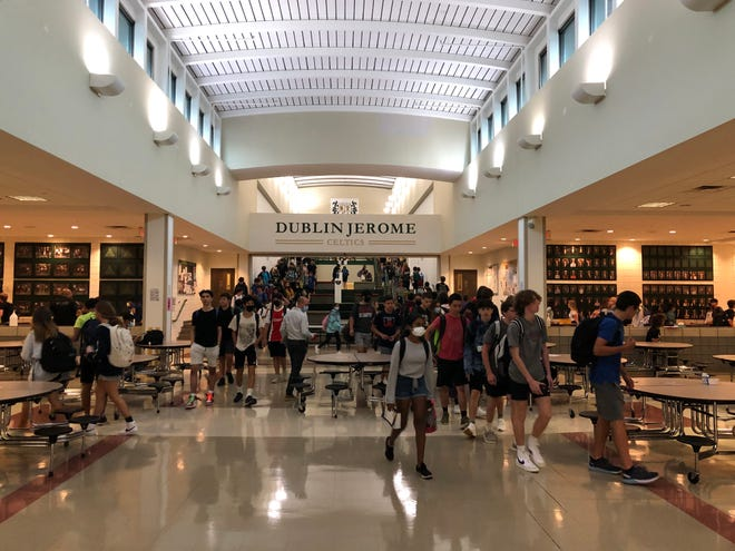 Students in between classes at Dublin Jerome High School. The school was recognized as a 2021 National Blue Ribbon School.