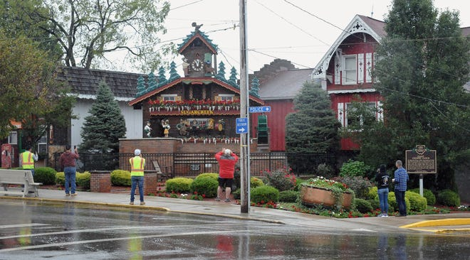 The cuckoo clock on the square in Sugarcreek is where a proposed statue honoring the cheesemakers of the area would be erected.