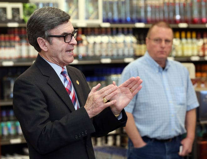 FILE - In this Tuesday, May 1, 2018, file photo, North Carolina Alcoholic Beverage Control Commission Chairman Zander Guy speaks at the new Nash County ABC Store No. 1. On Friday, Sept. 17, 2021, Guy submitted his resignation to Democratic Gov. Roy Cooper, who appointed him to the chairmanship in early 2017. Guy resigned from the board, citing anxiety over the ongoing COVID-19 pandemic and the agency's recent challenges with liquor distribution. (Alan Campbell/Rocky Mount Telegram via AP, File)