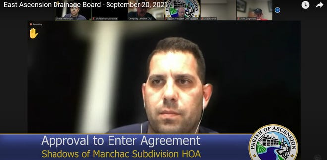 Chase Melancon speaks during the East Ascension Drainage Board virtual meeting held Sept. 20.